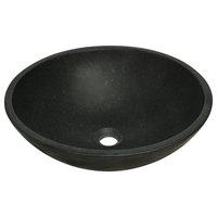 Honed Basalt Black Granite Vessel Without Drain