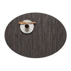 Bamboo Oval Table Mat, Gray Flannel