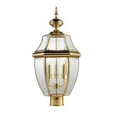 Cornerstone Ashford 3 Light Exterior Post Lantern, Antique Brass