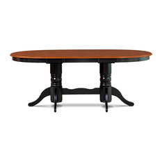 """42""""x78"""" Somerville Oval Dining Room Table, 18"""" Butterfly Leaf, Black/Cherry"""