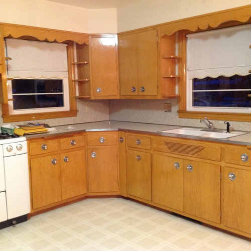 1956 Kitchen With Blonde Colored Cabinets