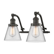 Small Cone 2 Light Bathroom Vanity Light in Oil Rubbed Bronze