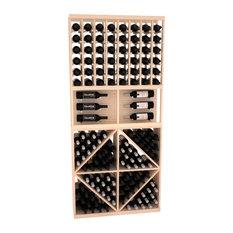 Wine Racks America CellarVue Ponderosa Pine Showcase Wine Rack Combo, Unstained