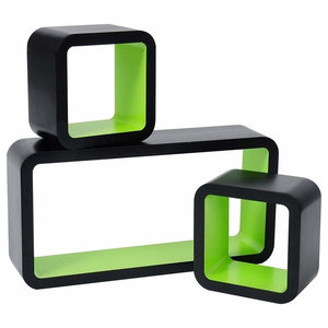 Modern 3-Piece Set Wall Mounted Display Shelves, MDF, Green Black