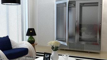 Меховой холодильник со стеклянными дверями