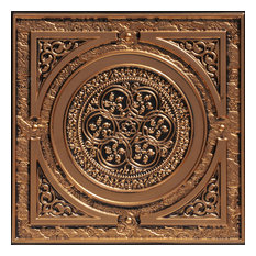 "Steampunk, Faux Tin Ceiling Tile, Antique Gold, 24""x24"""