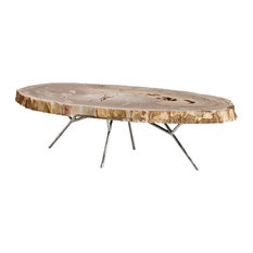 hawthorn modern brown tree trunk silver metal coffee table coffee tables