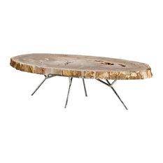 Hawthorn Modern Brown Tree Trunk Silver Metal Coffee Table   Coffee Tables