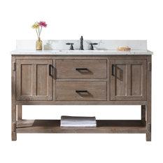"Harvey Farmhouse Bathroom Sink Vanity Brown Spruce, 54"""
