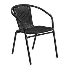"""Flash Black Rattan Indoor/Outdoor Restaurant Stack Chair, 24""""x28"""""""