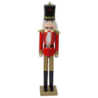 """36.25"""" Red and Gold Wooden Christmas Nutcracker Soldier"""