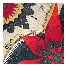 "Mozaico - Mosaic Tile Art, Poinsettia Floral, 39""x39"" - Tile Murals"