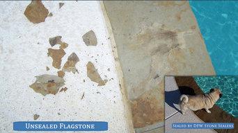 Flagstone pool coping restoration.