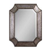 """Balboa"" Hammered Aluminum Hexagon Mirror"