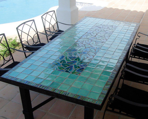 MOSAIC TABLE   LEAVES JADE   Outdoor Dining Tables