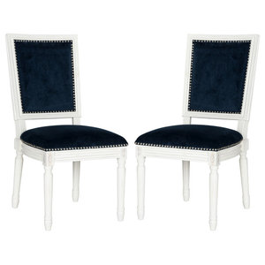 Safavieh Rana Dining Chairs, Navy, Velvet, Set of 2