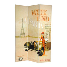 6' Tall Double Sided Vintage Weekend Canvas Room Divider, Paris