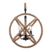 """Raekor 15"""" Industrial Hemp Rope Metal Round Sphere Cage Hanging Chandelier Light"""