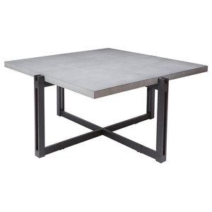 Dakota Coffee Table With Square Concrete Finish Top