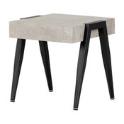 South Shore City Life Faux Concrete Square End Table in Gray and Black