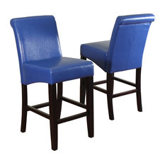 Milan Faux Leather Counter Stools, Set of 2, Blue