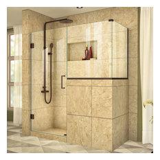 """Unidoor Plus 58""""x30.375""""x72"""" Hinged Shower Enclosure, Bronze"""