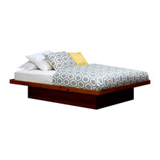 Full Size Platform Bed, Pine Wood, Natural Teak