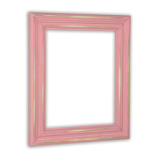 """Distressed Baby Pink Picture Frame, Solid Wood, 11""""x14"""""""