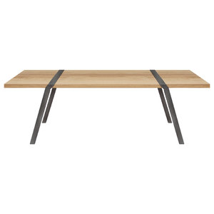 8-Seater Solid Oak Dining Table, Dark Steel