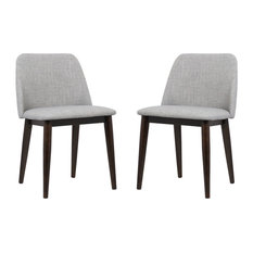Armen Living Horizon Contemporary Dining Chairs With Brown Wood Legs Set Of 2