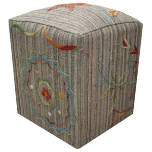 Embroidered Kilim Cube Stool With Orange Embroidery