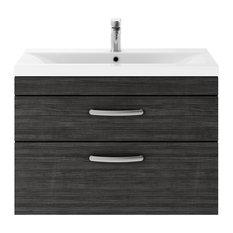 Wall-Hung Bathroom Vanity Unit, Black, 2 Drawers, Narrow Rim Basin, 80 cm
