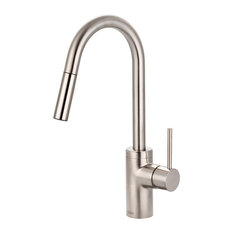 Motegi Single Handle High Arc Pull-Down Kitchen Faucet, PVD Brushed Nickel
