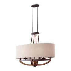 Feiss Adan 6 Light Single Tier Chandelier, Rustic Iron