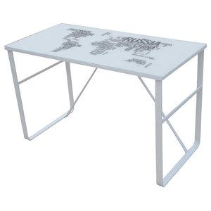 VidaXL Unique Rectangular Desk, Map Pattern
