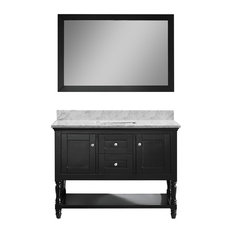 "Julianna 48"" Vanity, Espresso, White Marble, Without Faucet, Square"
