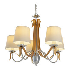Ribbon Copper and Silver Modern Chandelier With 5 Shades