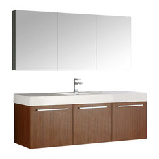 "Vista 60"" Teak Single Sink Bathroom Vanity and Medicine Cabinet"