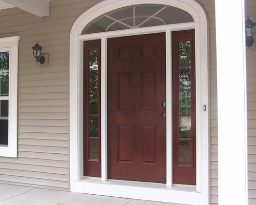 Wood Entry Door with Transom and Sidelights - Front Doors
