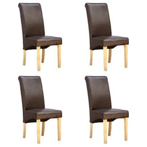 Contemporary Set of 4 High Back Chairs, Oak Finish Wood Legs, Cushioned Seat