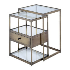 ACME Enca 2-Piece Nesting Tables, Clear Glass and Antique Brass