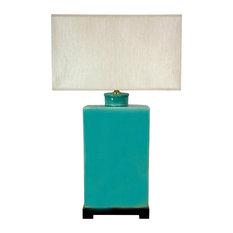 "28"" Rectangular Turquoise Lamp"