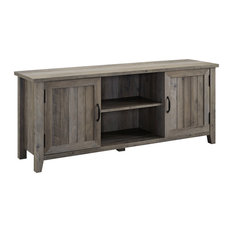"""58"""" Modern Farmhouse Grooved Door TV Stand, Gray Wash"""