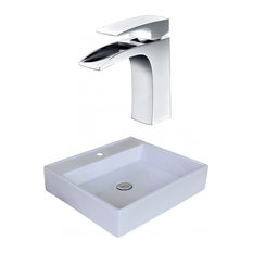 17 in. Square Vessel Sink Set with Single Hole