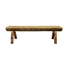 Glacier Country Half Log Bench, Exterior Stain Finish, 5 ft.