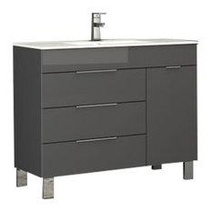 """Geminis Modern Bathroom Vanity With Integrated Sink, Gray, 39"""""""