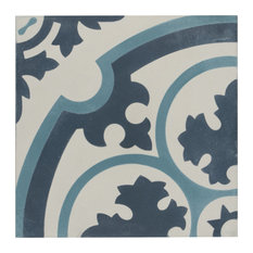 """SomerTile 7.88""""x7.88"""" Cement Floor and Wall Tile, Sky, Queen Mary"""
