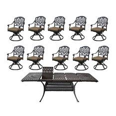 Outdoor Patio Dining Set Cast Aluminum Santa Clara Extendable Table 11 Piece