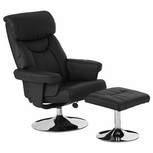 Modern Recliner with Footstool in Faux Leather, Adjustable Height, Black