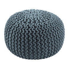 Jaipur Living Visby Textured Round Pouf, Orion Blue